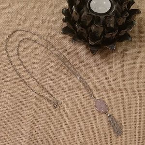 LOFT | Druzy Chain Tassel Pendant Long Necklace